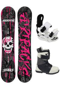 Damen Snowboard Set Savage Pink